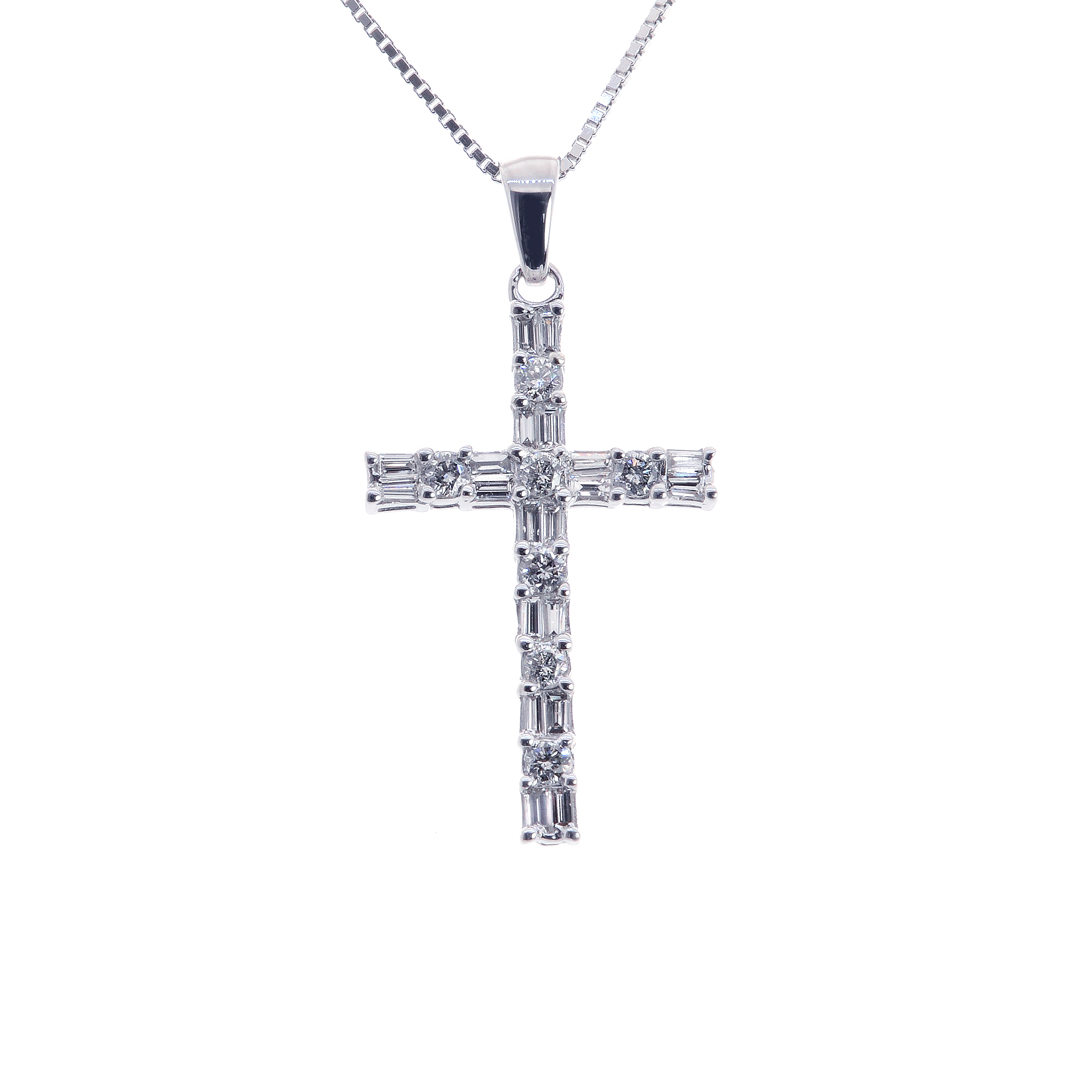 carat baguette round cut diamond cross pendant. Black Bedroom Furniture Sets. Home Design Ideas
