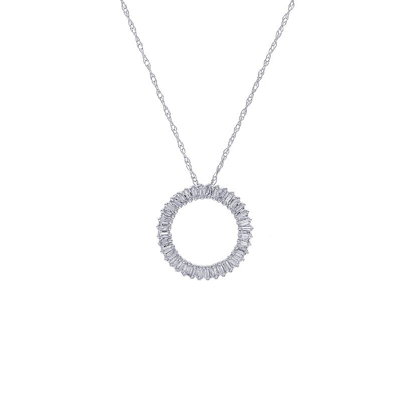0 15 Carat Baguette Cut Diamond Circle Pendant Necklace