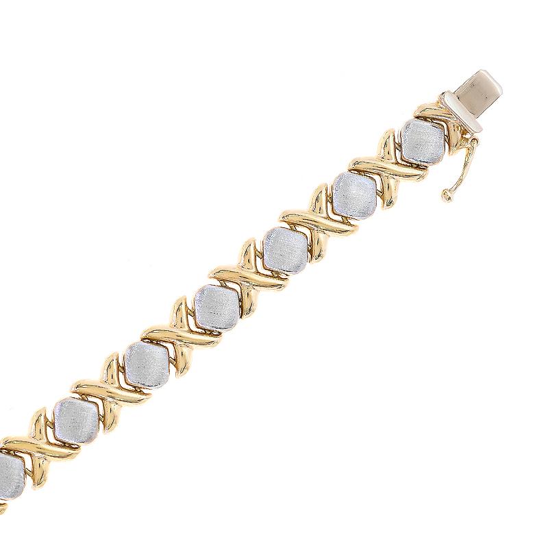 Hearts And Kisses Bracelet: 8.3mm Ladies 14K Two Tone Gold Hugs And Kisses Bracelet