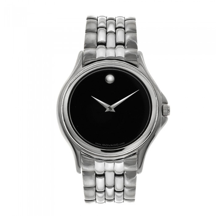 movado museum s in stainless steel like new
