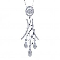1.00 Carat Unique Chandelier Diamond Pendant 14k White Gold