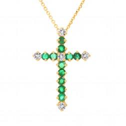 14K White Gold  Round Emerald & Diamond Cross Necklace