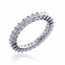 18K White Gold Ladies Princess Diamond Cut Eternity Wedding Band 2.10 tcw