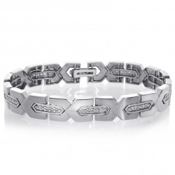 1.00 Carat Mens Diamond Bracelet in 14K White Gold