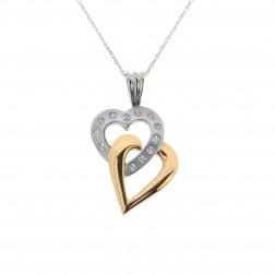 0.25 Carat Diamond Hearts Pendant 10K Two Tone Yellow & White Gold
