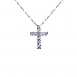 0.75 Carat Round & Baguette Cut Diamond Cross 14K White Gold
