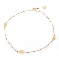 14K Yellow Gold Bead Link Ankle Bracelet With Gold Hearts