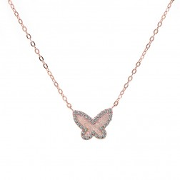 0.25 Carat Look Butterfly Pendant in Rose Gold Tone Silver with Cubic Zirconia