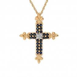 0.50 Carat Sapphire with Diamond Cross Pendant 14K Yellow Gold