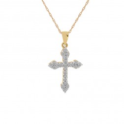 0.25 Carat Diamond Cross Pendant 14K Yellow Gold