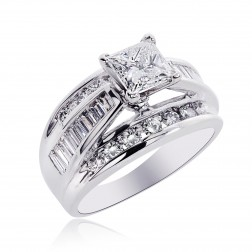2.58 Carat H-VS2 Natural Princess Cut Diamond Engagement Ring 14K White Gold