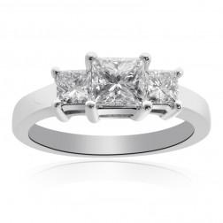 1.51 Carat H-VS2 Princess Cut Diamond Three Stone Engagement Ring 14K White Gold