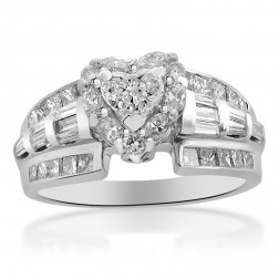 1.63 Carat G-SI1 Heart Shape Diamond Halo Engagement Ring 18K White Gold