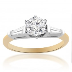 0.87 Carat G-SI1 Round Brilliant Cut Diamond Engagement Ring 14K Two Tone Gold