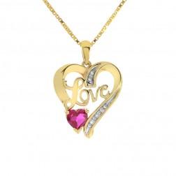 0.50 Carat Diamond with Ruby Love Heart Pendant 10K Yellow Gold
