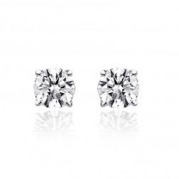 0.55 Carat Round Brilliant Cut Diamond Solitaire Stud Earrings 14K White Gold