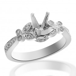 0.30 Carat Diamond Engagement Ring 14K White Gold Mount Setting