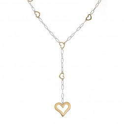 14K White Gold Elongated Cable Chain Necklace with Gold Hearts in Two Tone Italy