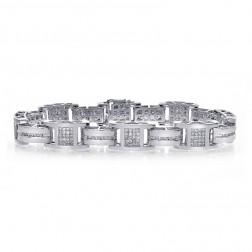 3.50 Carat Mens Diamond Bracelet 14K White Gold