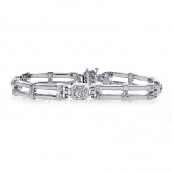 2.00 Carat Mens Diamond Bracelet 14k White Gold