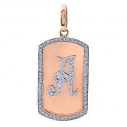 2.75 Carat Round Cut Diamond Dog Tag Personalized Initial Pendant 14K Rose Gold