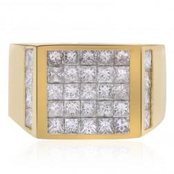 3.00 Carat Princess Cut Invisible Setting Mens Ring 14K Yellow Gold