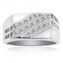 0.45 Carat Round Cut Channel Setting Mens Ring 14K White Gold