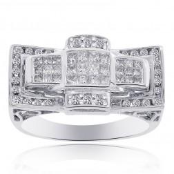 1.45 Carat Round Cut and Princess Cut Diamonds Mens Ring 14K White Gold