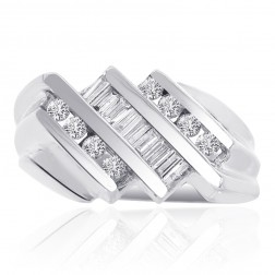 0.70 Carat Round and Baguette Cut Channel Setting Diamond Mens Ring 14K White Gold