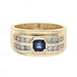 0.65 Carat Round Diamonds 0.75 Carat Princess Sapphire Mens Ring 14K Yellow Gold