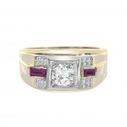 0.65 Carat Diamond 0.20 Carat Man Made Ruby Antique Mens Ring 14K Yellow Gold