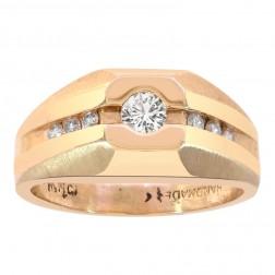 0.40 Carat Round Cut Channel Setting Diamonds Mens Ring 14K Yellow Gold