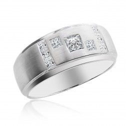 1.00 Carat Princess Cut Diamond Mens Wedding Band 14K White Gold