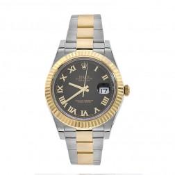 Rolex Datejust II Stainless Steel/18K Yellow Gold Watch Black Roman Dial 116333