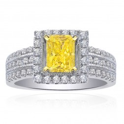 1.30 Carat Diamond Engagement Ring Fancy Intense Yellow Radiant Cut in 14K White Gold
