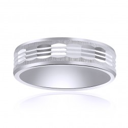 6.0mm 14K White Gold Comfort Fit Band With A Textured Center