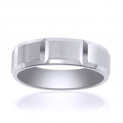 6.5mm 14K White Gold Comfort Fit Horizontal Grooves Band