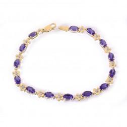 0.10 Carat Diamond and 5.00 Carat Amethyst 14K Yellow Gold Flower Link Bracelet