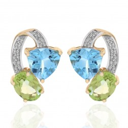 2.00 Carat Multi-Gemstone Diamond Stud Earrings 10K Yellow Gold