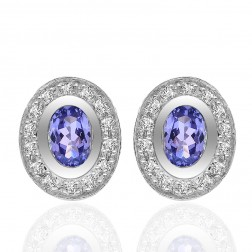1.20 Carat Oval Cushion Tanzanite Diamond Frame Stud Earrings 14K White Gold