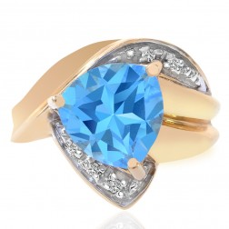 3.50 Carat Blue Topaz Trillion and Round Cut Diamond Ring 14K Yellow Gold