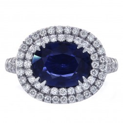 2.98 Carat Blue Sapphire and Diamond Cocktail Ring Platinum
