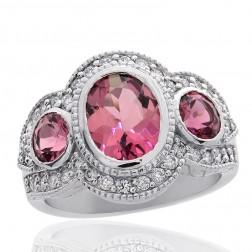 2.43 Carat 3 Stones Pink Tourmaline with 0.50 Carat Diamond Ring 18K White Gold