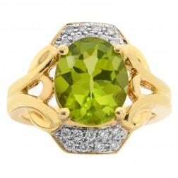 2.95 Carat Peridot with 1/4 Carat Diamond Cocktail Ring 14K Yellow Gold