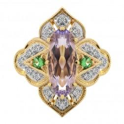 3.15 Carat Marquise Amethyst with Round Kuznite Diamond Cocktail Ring 14K Yellow Gold