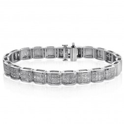 5.00 Carat G-SI1 Princess Cut Diamond Invisible Set Bracelet 14K White Gold