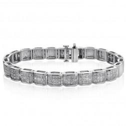 5.00 Carat G-SI1 Princess Cut Diamond Invisible Set Bracelet 14K White Gold
