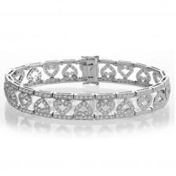 2.50 Carat G-SI1 Round Brilliant Cut Diamond Heart Bracelet 14K White Gold