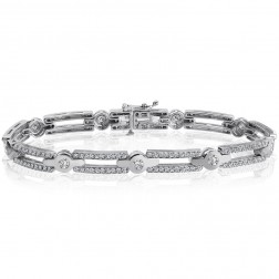 2.50 Carat G-SI1 Natural Round Brilliant Cut Diamond Bracelet 14K White Gold