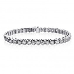 9.00 Carat G-VS2 Round Cut Diamond Half Bezel Tennis Bracelet 14K White Gold